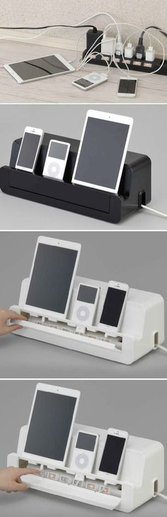 Cable Cord Management Storage Box Charger Holder For iPad Cell Phone