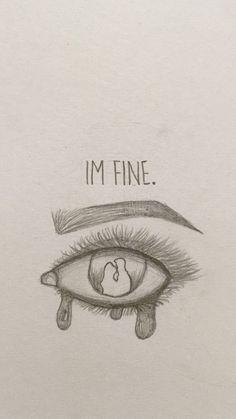 I'm fine 😢 - New Ideas - kunst skizzen - Sad Drawings, Dark Art Drawings, Art Drawings Sketches Simple, Pencil Art Drawings, Art Drawings Beautiful, Sketches Of Women, Drawings About Love, Cute Love Drawings, Pencil Sketching