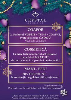 Pentru luna Ianuarie 💞 v-am pregătit următoarele: COAFOR 💇♀️ La PACHETUL Vopsit + Tuns + Coafat, aveți Vopseaua CADOU *(în limita a 2 tuburi)  COSMETICĂ 🥰 La orice tratament facial achiziționat, beneficiați GRATUIT de un tratament cu parafină pentru mâini  MANI - PEDI 💅 50% DISCOUNT la construcția cu gel, însoțită de oja semi Orice, Cosmetics, Crystals, Paraffin Wax, Crystal, Crystals Minerals