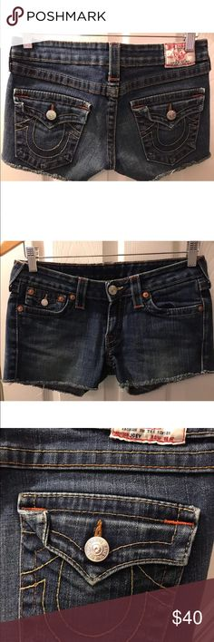 "TRUE RELIGION Joey Denim Cut Off Shorts Flap pocks This is a awesome pair of TRUE RELIGION Cut Off Jean Shorts. They have a medium wash, raw hem, low rise, flap pockets and short daisy duke style. In excellent condition!    Size: 28 Waist flat: 14.5"" Rise: 7"" Hips flat: 18"" Inseam: 3"" Bin #15 True Religion Shorts Jean Shorts"