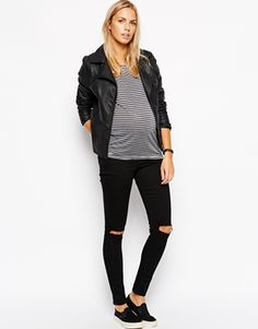 Enlarge ASOS Maternity Ridley Skinny Jean in Clean Black with Busted Knees $68.18