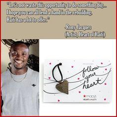 #HeartofHaiti artist, #RonyJacques via @Macy's Official