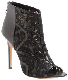 Rebecca Minkoff Moss Leather & Lace Open-toe Ankle Boots In Black Lace Ankle Boots, Lace Booties, Bootie Boots, Shoe Boots, Ugg Boots, Ankle Booties, Cute Shoes, Me Too Shoes, Jimmy Choo
