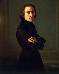 Franz Liszt (1811-1886). He was a piano virtuoso, teacher, composer, and pretty much the equivalent of a rockstar. He was the one that suggested turning the piano sideways so the audience could see the pianist, rather than with their back to the audience. He was a bit of a playboy as well, and women threw gloves - among other things - up to him on the stage.