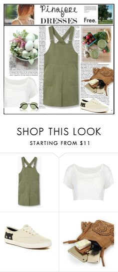 """""""Pinafore dress"""" by arohii ❤ liked on Polyvore featuring MANGO, Keds, HUGO, Marni, By Zoé, mango, keds, militarygreen, pinafores and 60secondstyle"""