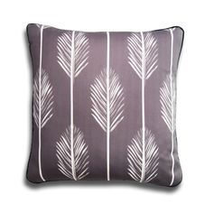 Modern Gray and White Organic Cotton Pillow with Leaves
