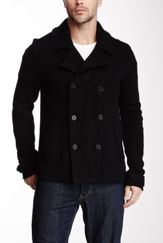 Star USA by John Varvatos Double Breasted Wool Blend Sweater Peacoat