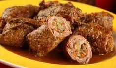 Receita de Bife Rolê com Azeitonas, aprenda como fazer essa delicia, receita simples e deliciosa, com recheio de azeitonas, anote e prepare essa delicia.