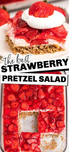 Strawberry pretzel salad is a delicious combination of sweet and salty which makes this fresh dessert a hit wherever you take it or the perfect side to your next family dinner. The salty pretzel crust is a perfect combination with the creamy cream cheese center, and topped with fresh strawberries and jello! This tasty treat is loved by adults and kids! Mini Desserts, Dessert Salads, Köstliche Desserts, Delicious Desserts, Yummy Food, Jello Pretzel Desserts, Jello Dessert Recipes, Pretzel Treats, Plated Desserts