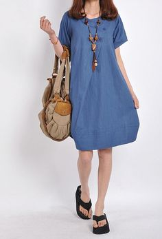 Loose Fitting Maxi Dress - Summer Dress in Blue - Short Sleeve Cotton Sundress for Women