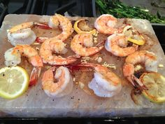 Lemon-Garlic Shrimp Cooked on a Himalayan Salt Plate with Roasted Veggies | Fresh From Nancy's Garden