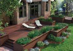 composite deck with low flower beds instead of railing