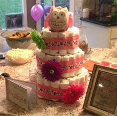 Wishes do come true...: Pink Owl Baby Shower Girl diaper cake