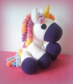 Crochet Unicornio XXL por CrochetlandRV en Etsy Crochet Horse, Knit Or Crochet, Crochet Animals, Crochet For Kids, Amigurumi Patterns, Amigurumi Doll, Knitting Patterns, Crochet Patterns, Crochet Mermaid