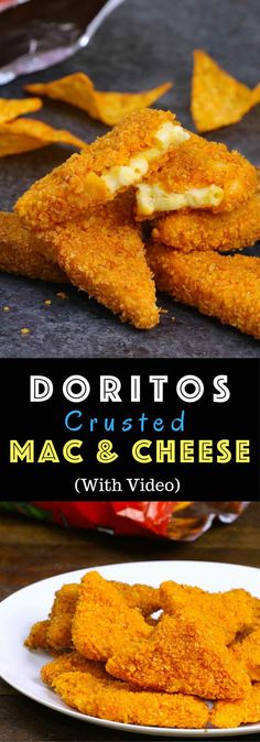 Doritos Crusted Mac & Cheese – Creamy Mac & Cheese is covered with a crispy zesty Doritos crust. All you need is a few simple ingredients: elbow pasta, butter, milk, flour, cheddar cheese, Doritos, egg, and flour. Cooked to perfect crispy golden color with the best Dorito crust! So good! Video recipe. | Tipbuzz.com