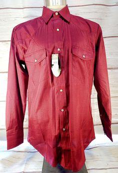 77281ce666 Roper Mens Medium Maroon Poly Cotton LS Western Shirt White Pearl Snaps NEW  NWT #Roper