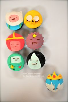 """Adventure Time!  (I ALREADY PINNED YOU THIS BUT DOING THE CUPCAKES BASED OFF OF THIS WOULD'VE BEEN WAY BETTER. FONDANT."""""""