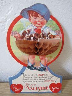 Vintage Greeting Card Valentine Boy Dogs Charles Twelvetrees Honeycomb Stand Up