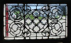 ~ ANTIQUE AMERICAN STAINED BEVELED GLASS WINDOW 36x22 ~ ARCHITECTURAL SALVAGE ~
