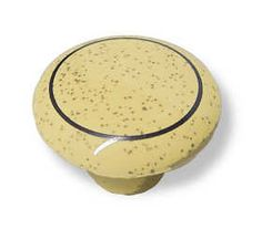 """Ceramic Knob - Oatmeal  with Brown Ring 1-1/4"""" K35-K214"""