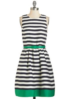 Let's Get Outgoing Dress. Your spirited demeanor is sure to make a fashionable impression when paired with this striped dress! #modcloth