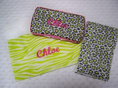 Personalized 3 Piece Baby Girl Hot Pink and Lime Animal Print Wipe Case and Burp Cloth Set by grinsandgigglesbaby1, $25.00