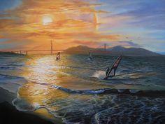 #WindSurfing into Sunset in #SanFrancisco Painting #GoldenGateBridge