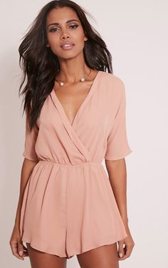 6c2cf7c20bc Bobby Nude Wrap Front Playsuit Red Romper