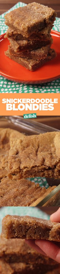 These snickerdoodle blondies are even more heavenly than the cookie. Get the recipe on Delish.com.