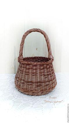 Купить Плетеная корзина Дачная - коричневый, корзина плетеная, корзина с ручкой, Корзина для хранения