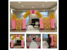 How to Build a Balloon Castle Wall for a Princess Theme Party Pink and Gold Decorations - YouTube