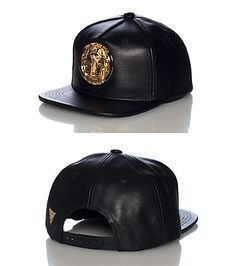 069a6be2769 HATER Polyurethane snapback cap Adjustable strap on back for comfort Gold  plated Pharoah logo on front