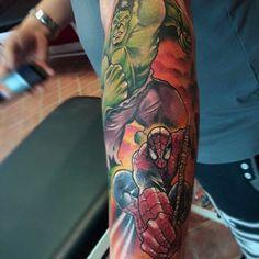 Silne Hulk Spiderman tatuażu Mężczyzna rękawy