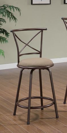 Ensure your breakfast bar or pub table has comfortable, long-term seating with the Coaster Furniture 38 in. Cross Back Swivel Bar Stool - Set of. Brown Bar Stools, Counter Height Bar Stools, Metal Bar Stools, Swivel Bar Stools, Coaster Furniture, Metal Furniture, Wood Veneer, Dining Chairs, Chairs
