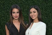 Actresses Madison Reed (L) and Victoria Justice attend the Ted Baker London Spring/ Summer 17 Launch Dinner at The Chamberlain on March 16, 2017 in West Hollywood, California.