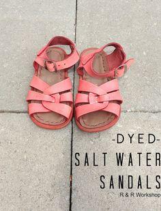 DIY Coral Dyed Salt Water Sandals the sandals that my little girls had Gladiator Sandals, Leather Sandals, For Elise, Rit Dye, Birkenstock Mayari, Salt And Water, Water Shoes, Diy Fashion, Fashion Ideas