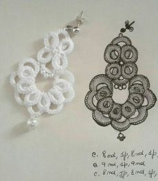 Ribbon Embroidery For Beginners Рукоделие. Tatting Earrings, Tatting Jewelry, Lace Jewelry, Tatting Lace, Crochet Earrings, Diy Embroidery Machine, Silk Ribbon Embroidery, Embroidery For Beginners, Crochet Patterns For Beginners