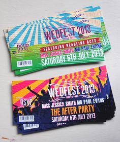 Concert Ticket Wedding Invitation samples by MartyMcColgan on Etsy, £3.50