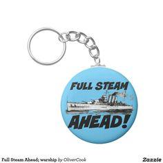 Full Steam Ahead; warship Basic Round Button Key Ring