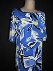 CHICOS TRAVELERS Sz 2 M L Bright Blue Floral Knit Top Blouse Travel Short Sleeve