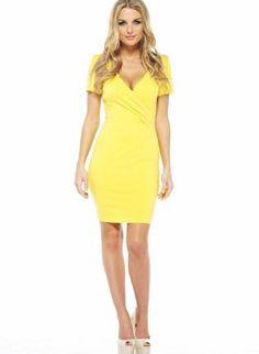 Yellow Cocktail Dress - Yellow V Neck Bodycon Dress