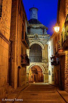 Calaceite. Escena nocturna Terol. Aragon, SPAIN