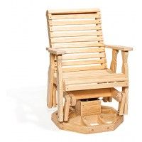 Amish Pine Wood Roll Back Swivel Outdoor Glider Chair Relax in comfort outdoors in this Amish made glider. Outdoor Glider Chair, Swivel Glider Chair, Diy Chair, Outdoor Chairs, Glider Rockers, Patio Glider, Dining Chairs, Pine Furniture, Furniture Styles