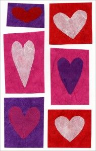 Glue boxes cut from rice paper, cut hearts to fit. #artprojectsforkids #valentine