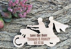 Custom Save the Date Magnet Set, Motorcycle Save The Date, Personalised Wedding Favor, Rustic Wooden Save the Date Magnet, Bridal Shower Wedding Favours Magnets, Rustic Wedding Favors, Personalized Wedding Favors, Biker Wedding Theme, Motorcycle Wedding, Motorcycle Quotes, Rustic Cupcake Stands, Rustic Cupcakes, Baby Wedding