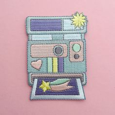 Appareil photo pastel Patch - fer sur Patch appareil photo arc en ciel
