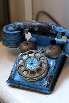 vintage, antique, telephone, blue