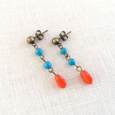 Antique brass turquoise and orange simple earrings. by J Jewelry Design