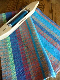 Handwoven tea towel designed and handwoven with a ocean teal blue colors in a fancy twill weaving pattern with 100 percent cotlin. This type