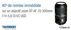 40€ de remise sur l'objectif Tamron SP AF 70-300mm F/4-5,6 Di VC USD sur Amazon